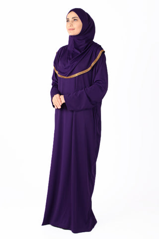 Purple with Lace Turkish Prayer Dress - Chaddors