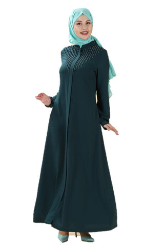 Pearl Detailed Teal Turkish Abaya - Chaddors