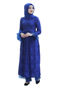 Royal Blue Lace Turkish Dress - Chaddors