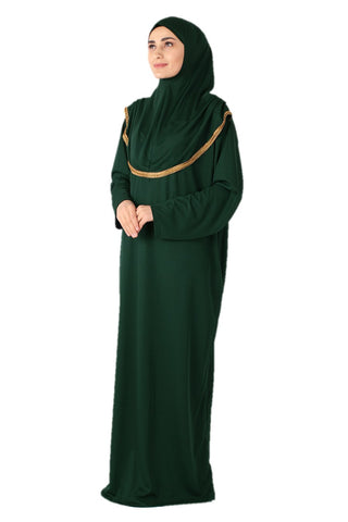 Dark Green with Lace Turkish Prayer Dress - Chaddors