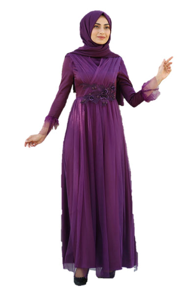 Manha Purple Princess Turkish Dress - Chaddors