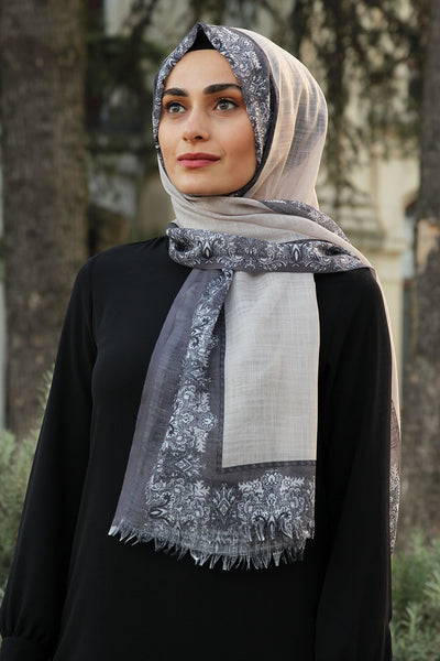 Printed Border Turkish Hijab - Chaddors