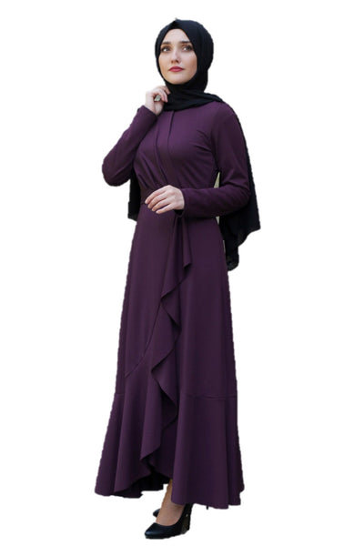 Lara Ruffle Purple Turkish Dress - Chaddors