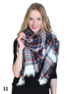 Brown/Blue Plaid Blanket Scarf - Chaddors