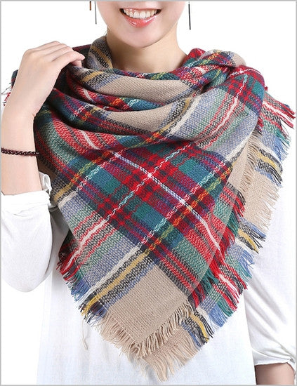 Tan/Red Plaid Blanket Scarf - Chaddors