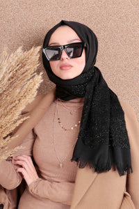 Black Mesh Sparkle Border Turkish Hijab - Chaddors