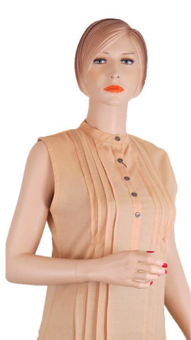 Sleevless Beige Tunic Top - Chaddors
