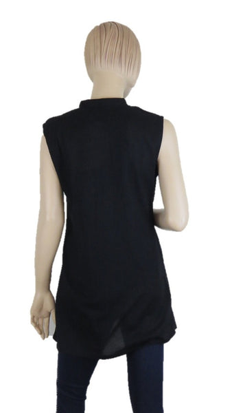 Sleevless Black Tunic Top - Chaddors