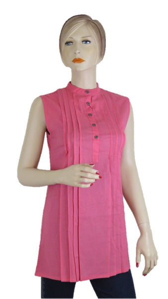 Sleevless Pink Tunic Top - Chaddors