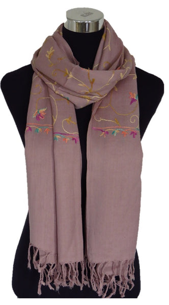 Tea Pink Embroidered Pashmina - Chaddors