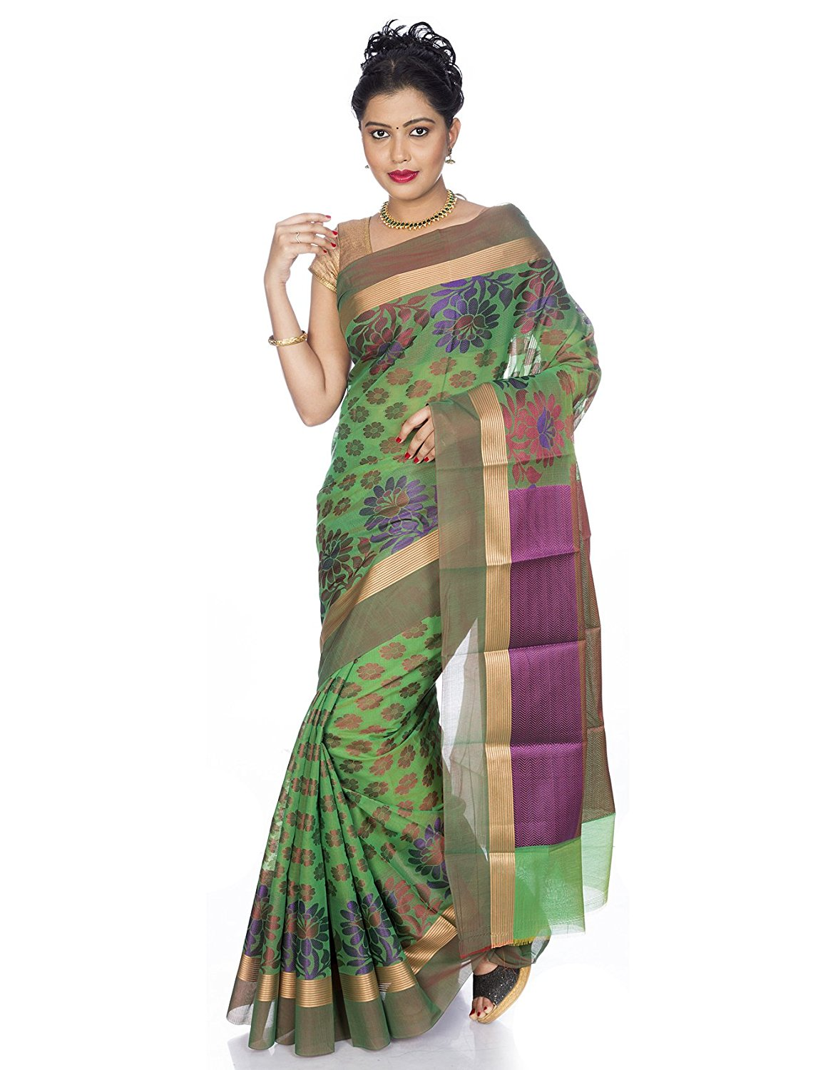 Pure silk Cotton Saree in Green -Mandakini Online Store