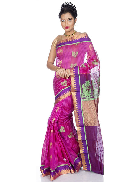 Pink Kanjivaram Pure Cotton Silk Saree