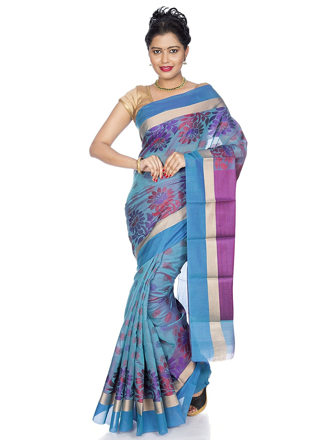 Handloom Cotton silk Saree in blue  (MK943)