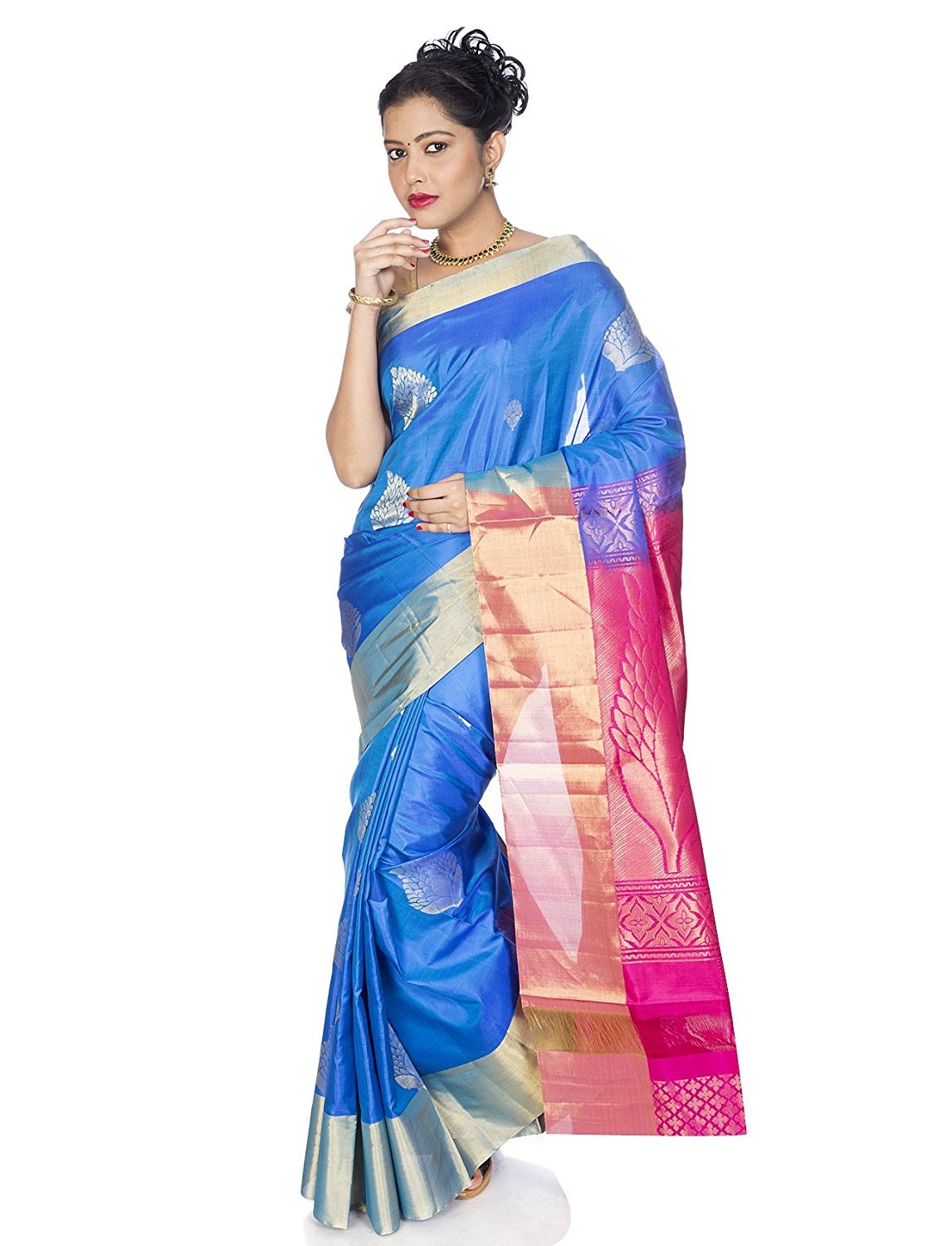 Blue Kanchipuram Silk Saree with elegant motifs and dark pink pallu