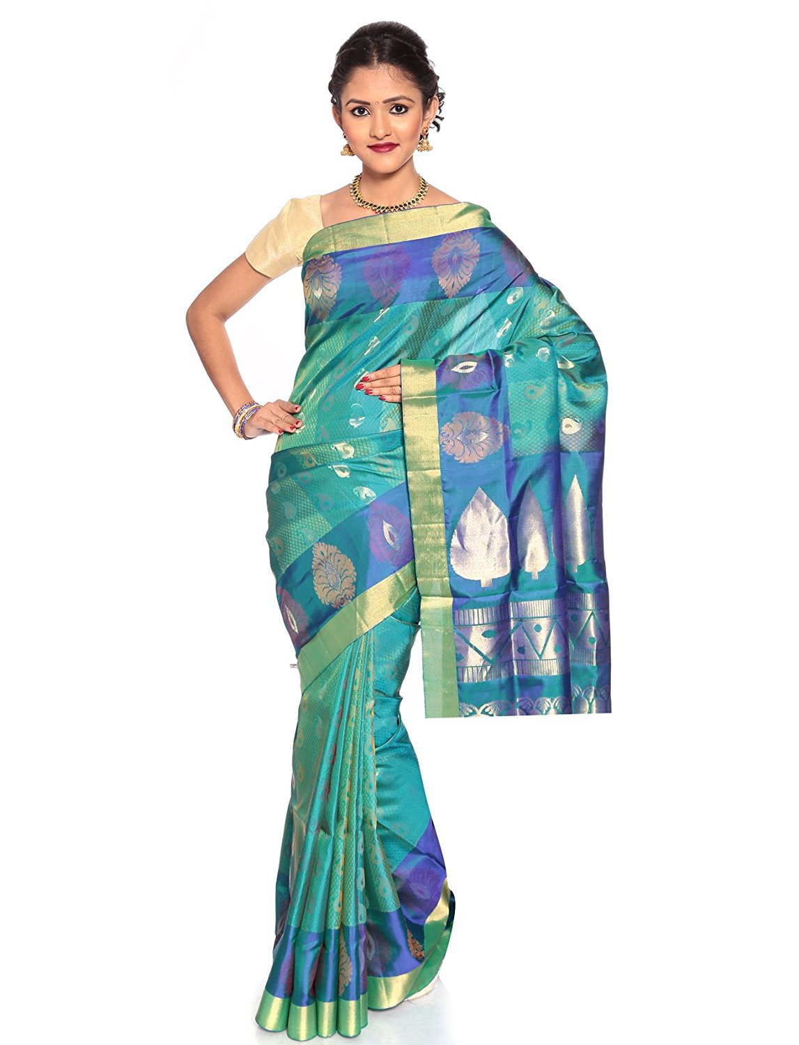 teal kanchivaram saree