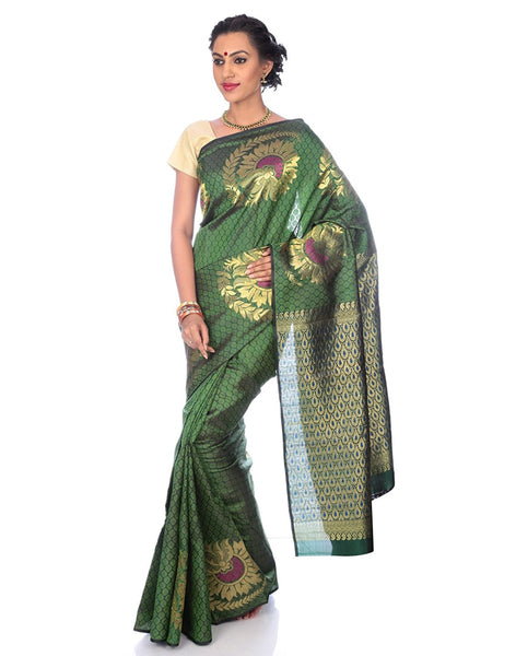 Green Kanchipuram Silk Saree with Floral Motifs