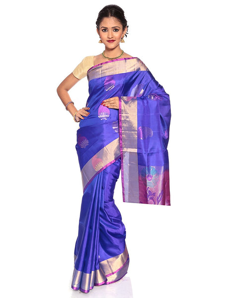 blue kanchivaram saree