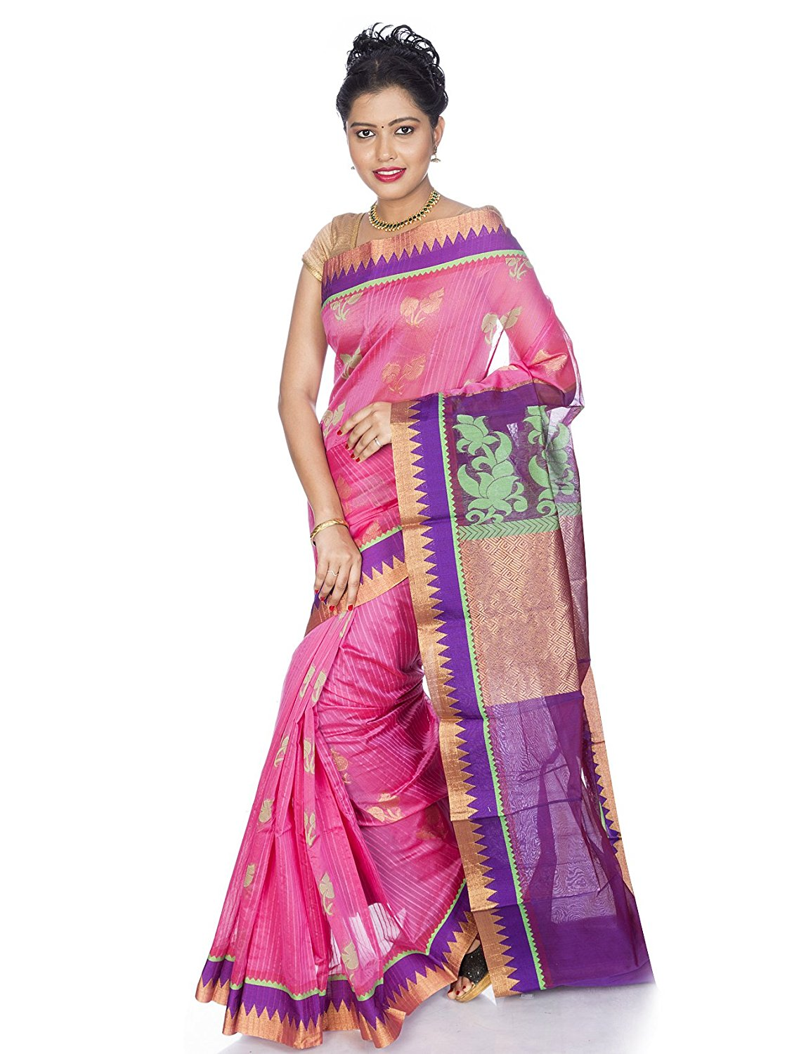 Pink Kanjeevaram Cotton Silk Saree