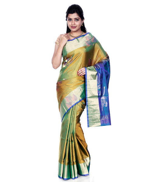 0e8f614904507 Mandakini - Indian Women s - Handloom - Kanchipuram (Kanjivaram) Pure Silk  Saree (Golden)