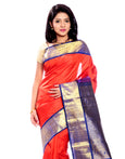Mandakini -  Indian Wedding Silk Sarees - (Orange ) (MK201)