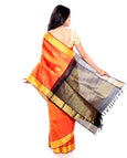 Bridal silk Sarees - Pure Zari Silk Saree in Orange