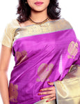 Magenta Pure Zari Kanchipuram Silk Saree with Anna Pakshi Motifs