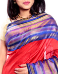 Kanchipuram Silk Saree in Red + Elegant Broad Border in Pure Gold Zari with AnnaPakshi Motifs