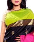 Black-Green-Pink Pure Zari Kanjivaram Silk Saree with Chakra Motifs | Indian Wedding Saree