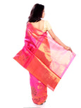 Pink Pure Zari Kanchipuram Pure Silk Saree with Peacock motifs