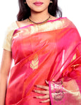 Mandakini - Exclusive - Indian Women's Kanchipuram  - Handloom - Pure Silk Saree (Orange Pink) (MK220)