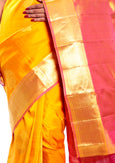 Mandakini - Exclusive - Indian Women's Kanchipuram  - Handloom - Pure Silk Saree (Yellow) (MK222)
