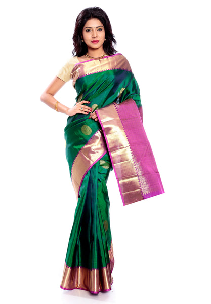 Dark green Kanchipuram saree online USA