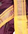 Mandakini Kasuti Ilkal Pure Silk Saree with Kasuti Embroidery in Dark Maroon Color
