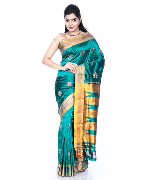Teal Ilkal Saree