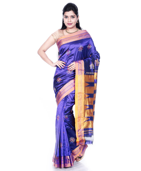 Pure Silk Ilkal Saree Violet