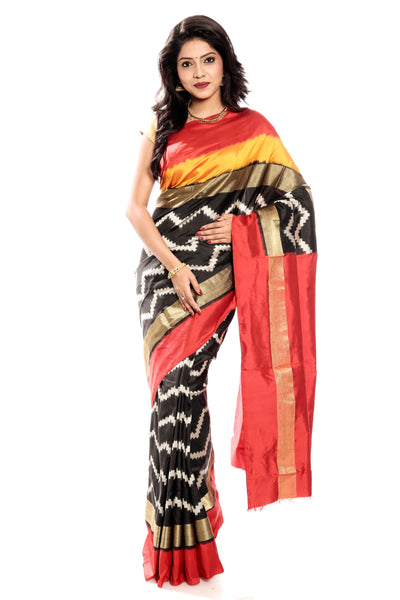Orange-Black Pochampally Saree