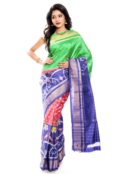 Green & blue ikkat silk saree