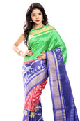 Green & blue ikkat silk saree online
