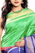 ikkat silk saree in green & blue