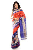 Orange & Blue pochampally ikkat silk saree