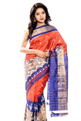 orange & blue ikkat silk saree