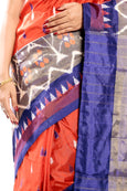 ornage & blue ikkat silk saree online usa, uk, canada