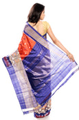 orange & blue pochampally saree in ilk fabric