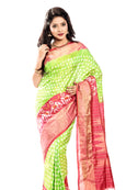 pochampally ikkat silk saree in light green with red border