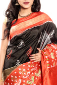 Orange border Pochampally ikkat saree online