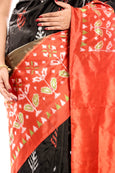 Black Ikkat Silk Saree UK, USA,Canada