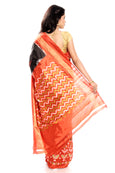 Black Pochampally Saree in orange border