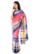 Pink & Blue Pochampally Saree
