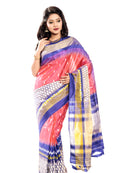 Pink & Blue ikkat Saree
