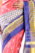 ikkat silk saree in Pink & Blue